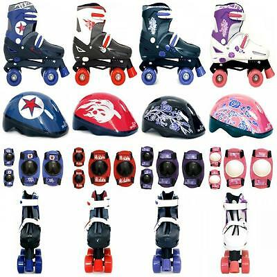 SK8 Zone, XQ Max Quad Skate Set Kids Roller Boots Safety Pads Helmet Quadskates