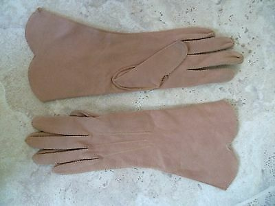 Morley Duplex vintage light brown fawn stitched fabric gloves size 6.5 vgc