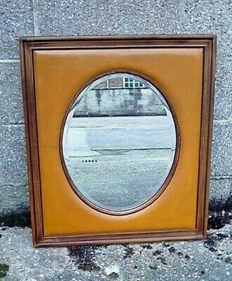 Unusual Antique Style Leatherette And Oak Framed Oval Bevelled Mirror