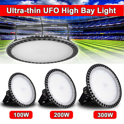 Ultra-Thin UFO LED High Bay Light 300W 200W 100W Commercial Lighting Cool Lamp