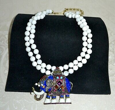 "$200 HEIDI DAUS ""Michelle's Majestic Elephant"" White Beaded Crystal Necklace"