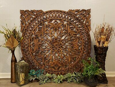 Large Rustic Floral Medallion Scrolling Carved Dark Wood Set/3 Wall Panels Decor