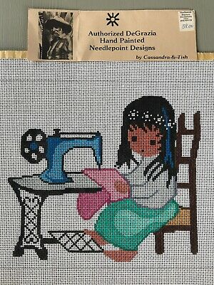 Vintage Needlepoint Canvas DeGrazia Native American Girl Sewing Machine
