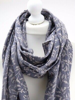 Ladies women's grey pretty floral print flower design scarf style shawl