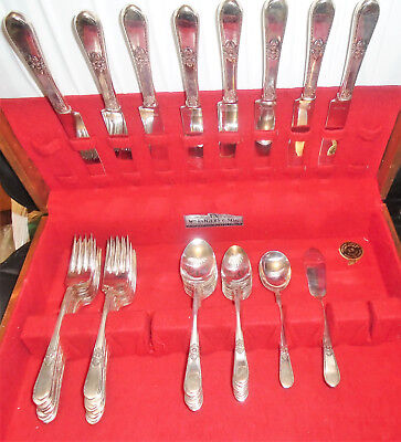 1847 Rogers Bros ADORATION 1930 Silverplate 42 Pieces
