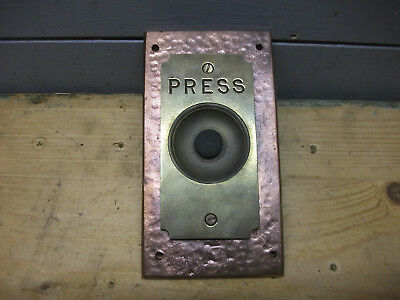 "art and crafts door bell  brass and hammered copper large -  6 1/2"" height"