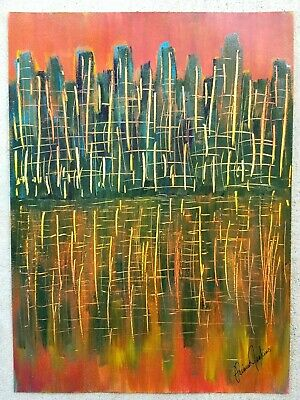 ORIGINAL PAINTING Cityscape Abstract City Unique Modern Art Signed Acrylic