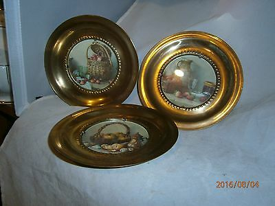 3 Vintage Made in England Solid Brass Wall Plates Fruit Scenes