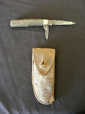 Herbert Robinson Sheffield Folding Two Blade Knife With Vintage Leather Pouch.