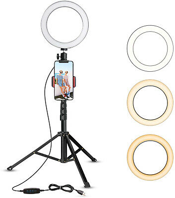 """6""""Selfie Makeup Ring  LED light With Tripod Stand &Cell Phone Holder For Live Vi"""