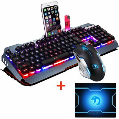 AU Wired M398 Backlit USB Ergonomic Gaming Keyboard + Gamer Mouse + Mouse Pad