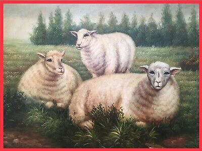 Original G. Roy Oil Painting Framed Art Gilt Sheep Pastoral