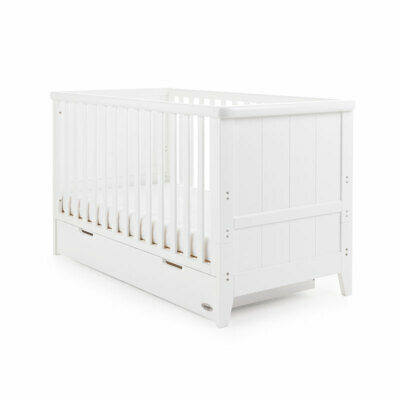 Obaby Belton Cotbed With Drawer - White/Taupe Grey - Boy Or Girl