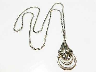 """Victorian Sterling Silver Cable Chain Necklace Antique Ring Style Pendant 24"""""""