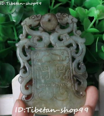 Collect Natural Old Jade Pattern Pixiu Dragon amulet Pendant Talisman Statue