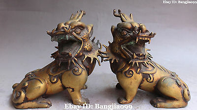 Old Purple Bronze Gilt Dragon Beast kylin Kirin Chi-Lin Kilin Qilin unicorn Pair