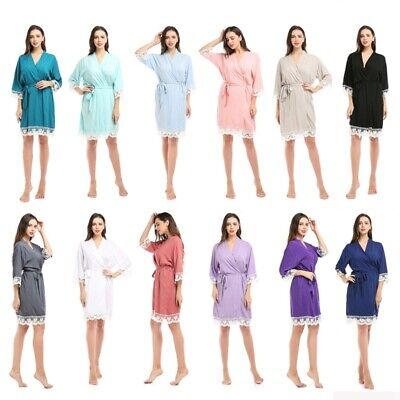 Cotton bridesmaid Robes With Lace Trim Women Wedding Bridal Robe Maternity Dress