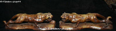 """10"""" China Natural Old Jade Carving Feng Shui Plum Leopard Panther Animal Pair"""