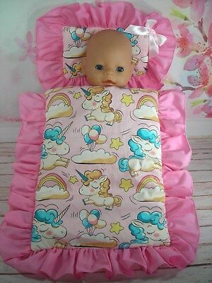 Dolls~Pink Unicorns ~ Pillow & Quilt Cover  For ~ Bed, Cot, Pram, Cradle ~
