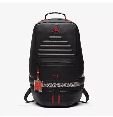 a11b42228c4 Nike Air Jordan Retro 3 III Black Cement Grey Backpack Gray Red 88 9A0018  KR5