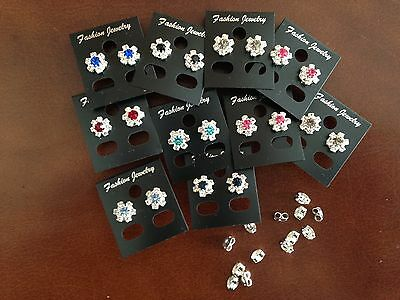 JOBLOT-10 pairs of crystal/colour diamante rosette stud earrings.Silver plated.
