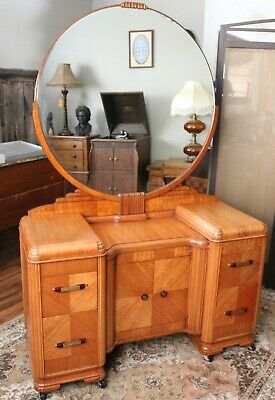 Stunning Antique 1930's Waterfall Art Deco Vanity Dresser with Mirror