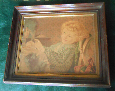 "Antique Victorian 1870s Walnut Shadowbox Frame ~ Rabbet 13 3/4"" X 11 1/4""  B"