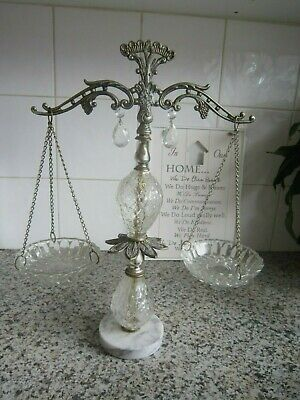 Vintage Brass Scales Of Justice With Crystal Prism Weight Holders Bon Bon Dish