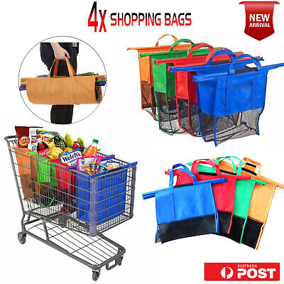 New Shopping Cart Bags Foldable Reusable Eco-Friendly Supermarket Grocery Bag AU