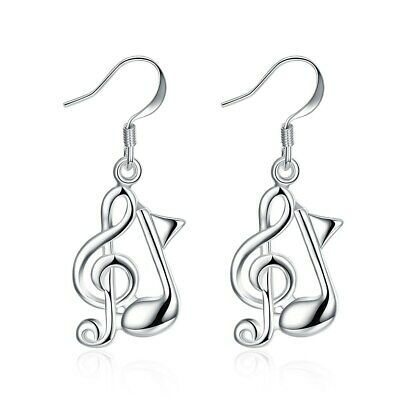 Music Note Dangle Earrings Silver Plated Color Party Engagement for Women GL