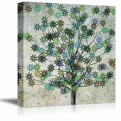 wall26 - Canvas Wall Art Abstract Ink Tree Painting Artwork - 16x16 inches