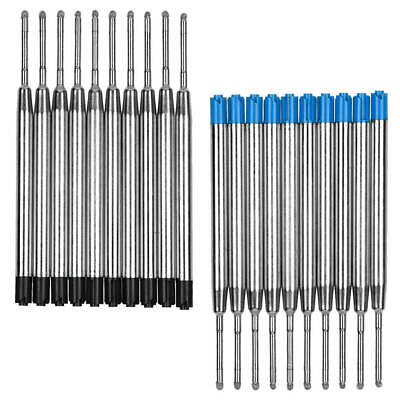 10Pcs Black/Blue Refills Compatible With Parker Pen Ink Ballpoint 0.5mm Med-Biro