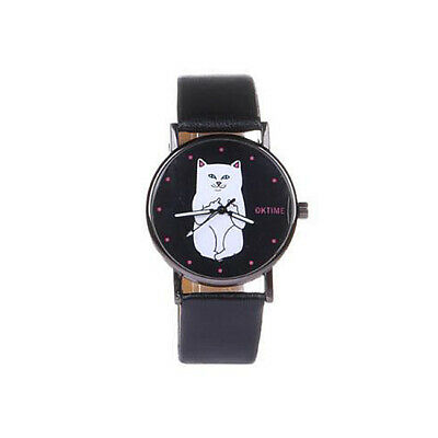 Lady Casual Watch Cat Dial Leather Stainless Steel Analog Quartz Wrist Watches F