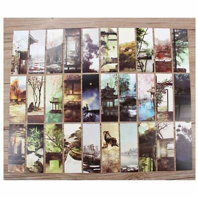30pcs Deep Courtyard Chinese Style Paper Bookmarks Painting Cards Boxed Bookmark