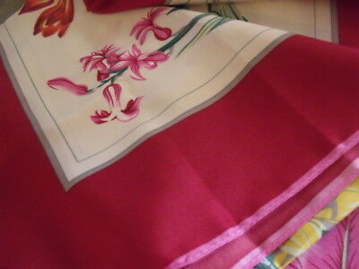 Foulard grand carré Scarf 100% Soie Silk 110x110 cm fleurs flowers rouge red new