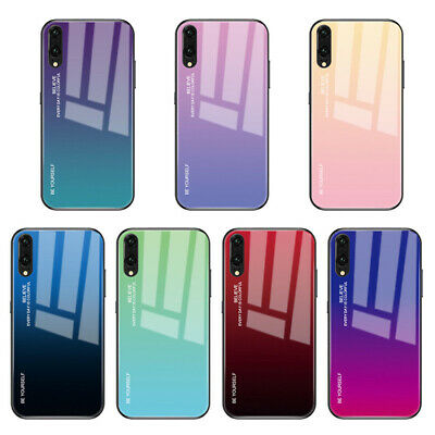 For Huawei P30 P20 Pro Shockproof Gradient Tempered GLASS BACK Slim Case Cover