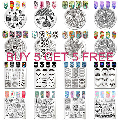 BORN PRETTY Nail Stamping Plates Animal Flower Leaf Nail Template Stencil Tools