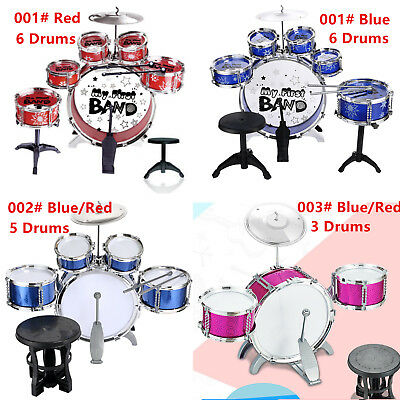 Blue / Red Junior Drum Kit For Kids - 3/5/6 Drum Set with Stool Childrens choose