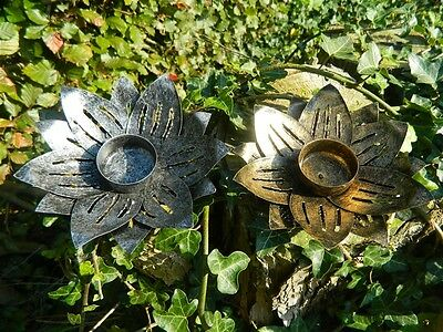 Flower Tealight Holder Metal Lotus Candle Holder - Set of Two - Assorted Colours