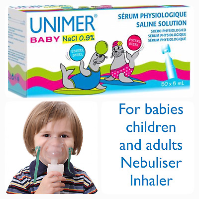 ✅Baby sterile saline solution pods 50 x 5 ml NaCl Nasal hay fever eye drops ✅UK