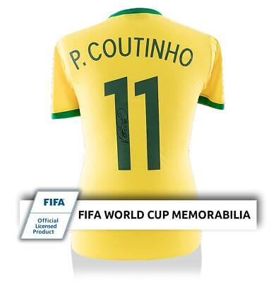 f8d40f724 Philippe Coutinho Official FIFA World Cup Signed Retro Brazil Shirt With  Fan Sty