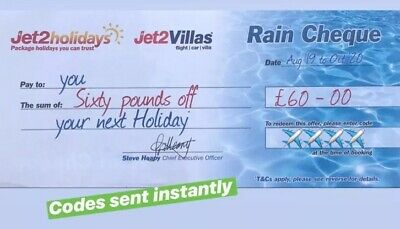 20 X Latest Jet2Holidays £60 Rain Cheque voucher Valid until March 2020**EXP AUG