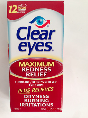 CLEAR EYES MAXIMUM REDNESS RELIEF EYE DROPS BURNING DRYNESS 15ml 0.5 fl.oz.