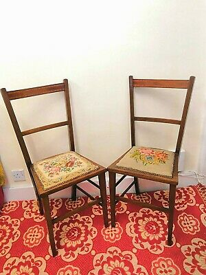 Antique Edwardian Needlepoint Chairs Mahogany With inlay
