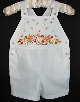 Laura Ashley Vintage Mother Summer 97 Cotton Embroidered Shorts Dungarees 4/5Yrs