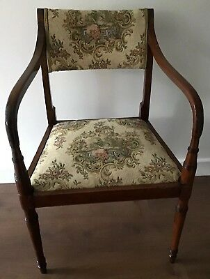 Antique Regency Mahogany Carver Chair With Downswept Arms And Lift Off Seat