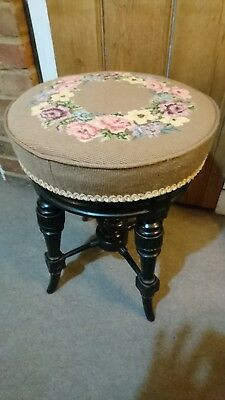 Antique Victorian Upholstered Ebonised Revolving Piano Stool Excellent Condition