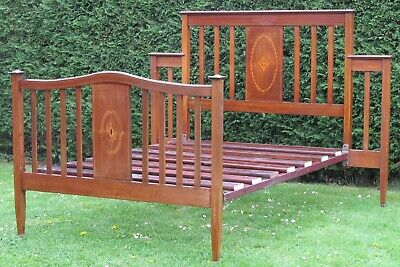 Unuusual Inlaid Mahogany Standard Double Bed with Pine Slat Base