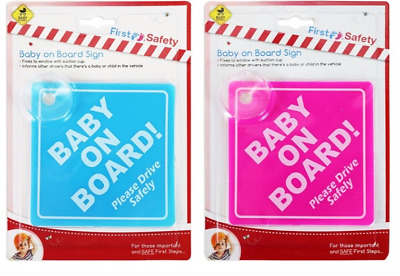 Baby On Board Child Safety Suction Cups Car Vehicle  Sign Blue/Pink Boy/Girl