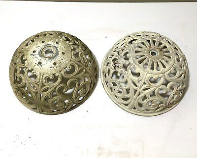 A Pair of Vintage Antique Victorian Cast Iron / Steel Light Cover Shade Shades